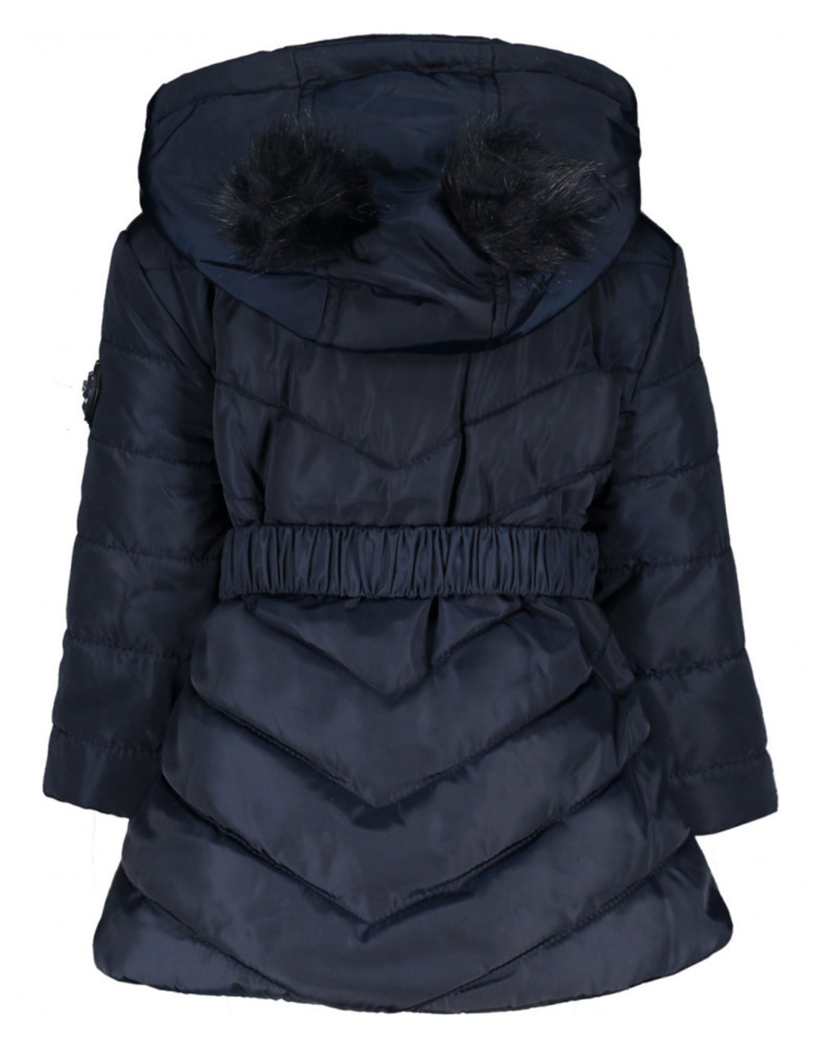 Le Chic Le Chic Quilted Coat Fake-Fur Balls-Blue Navy