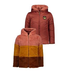 Like Flo Like Flo Girls Reversible Colour Block Fur Jacket