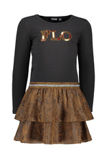 Like Flo Like Flo Girls Suede Snake Jersey Dress- Camel