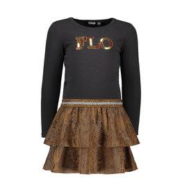 Like Flo Like Flo Girls Suede Snake Jersey Dress- Camel