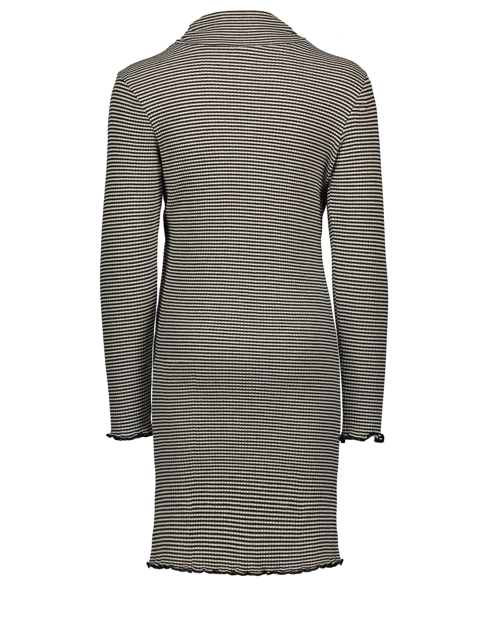 Like Flo Like Flo Girls Yd Striped Rib Rollneck Dress-Black