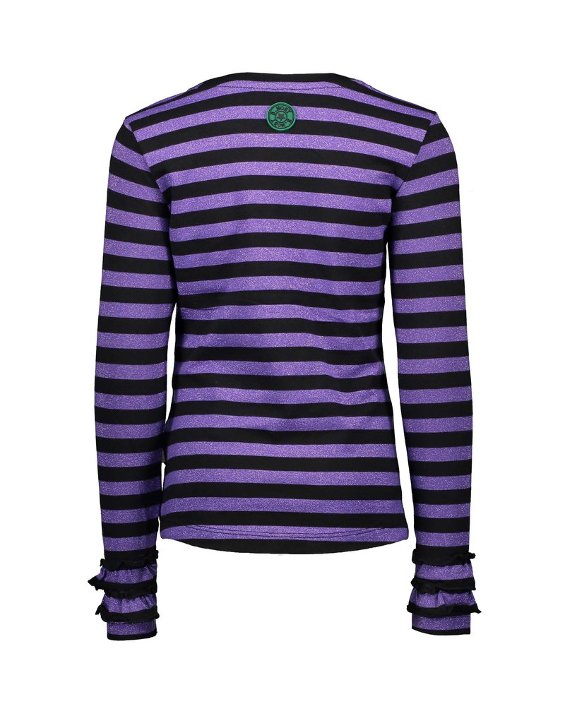 B.Nosy B.Nosy Girls Stripe Shirt With 2Layers RibCuff-Grape Purple