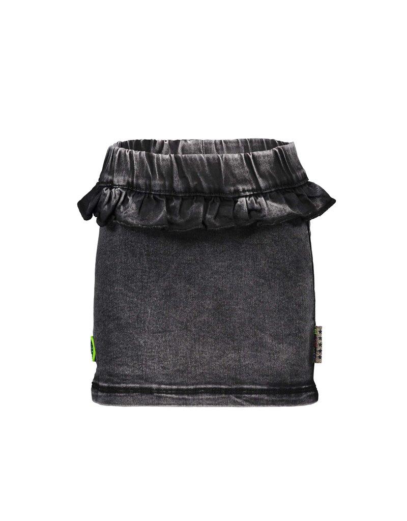 B.Nosy B.Nosy Girls Straight Skirt With Ruffle- Black Denim