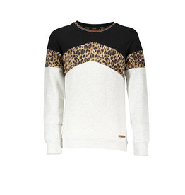 NoBell NoBell- Kambia Animal Color Block Sweater-Snow White