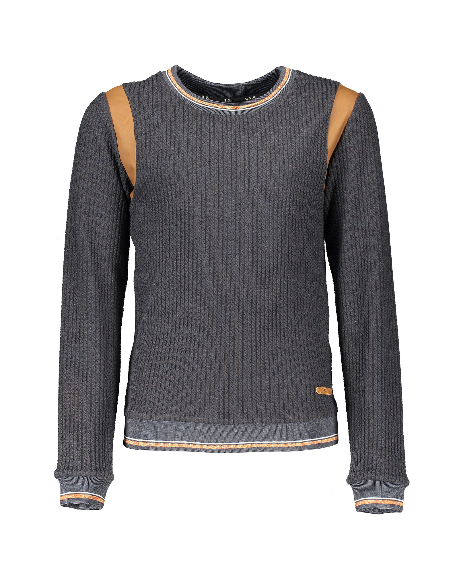 NoBell NoBell-Kynu Rib Sweater-Leather Insert-Antracite