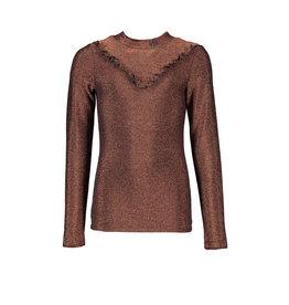 NoBell NoBell-Kikit LS Glitter T-Shirt Collar And Ruffle-Bronze