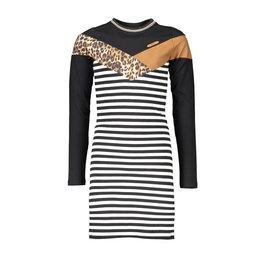 NoBell NoBell-Maura LS Stripes Dress-Animal Fur Top-Antracite