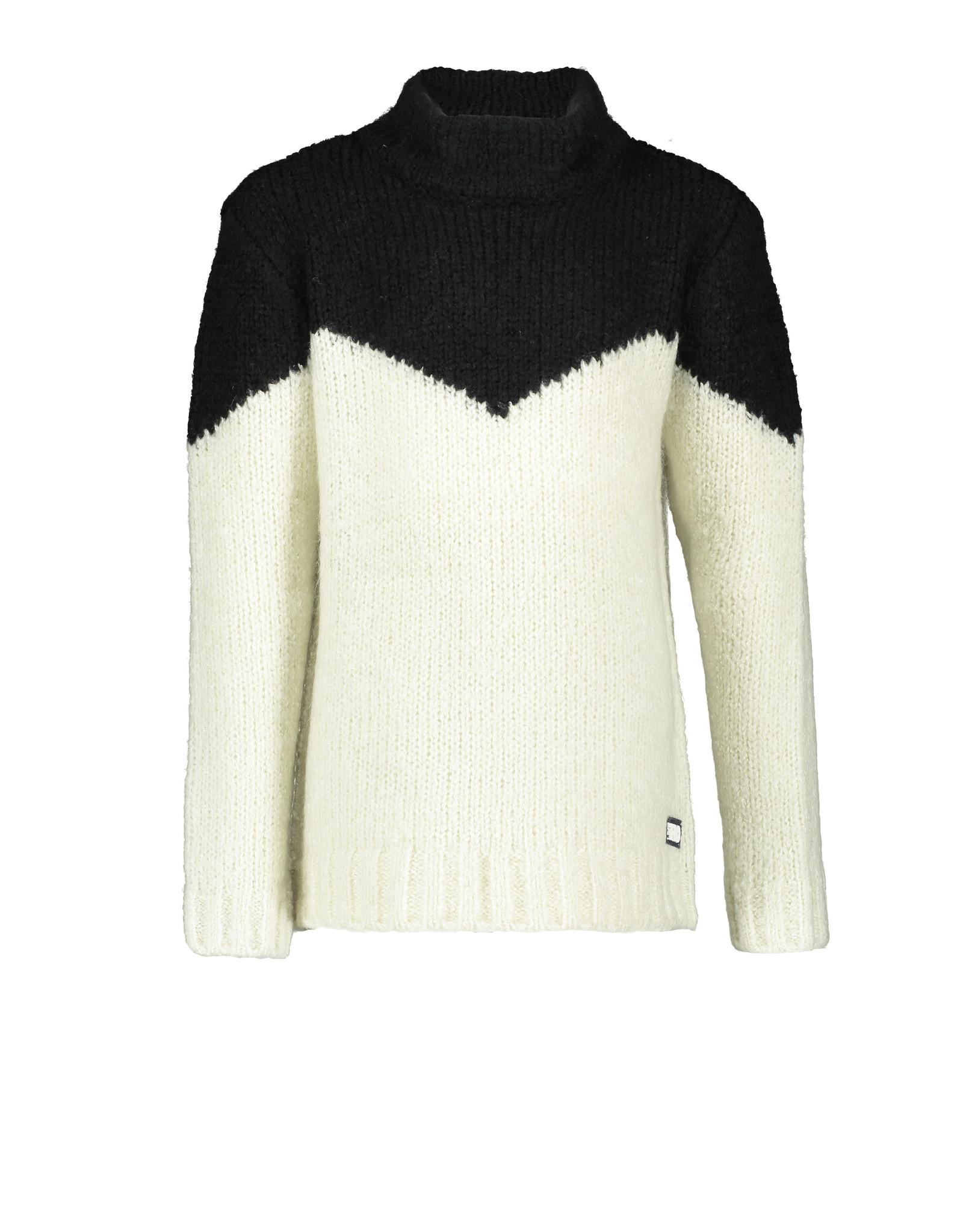 Like Flo Like Flo Boys Knitted Black-White Rollneck Sweater Off White