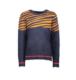NONO NONO Kayra fluffy zebra knitted pullover Navy Blazer