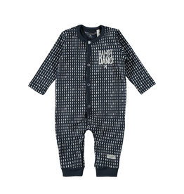 Little Bampidano LB-New Born Overall LS-AO Print Stripe-Navy Allover