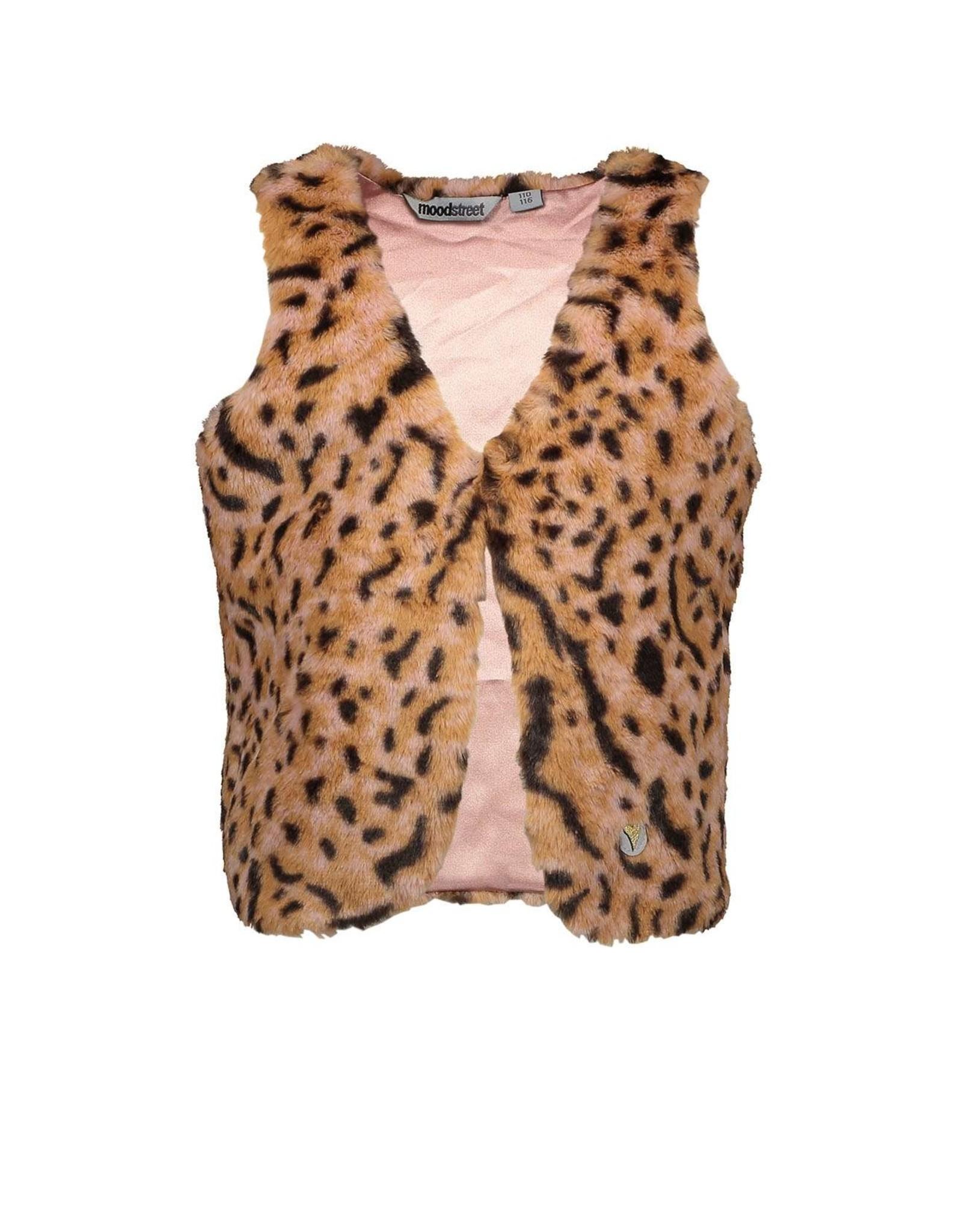 Moodstreet Moodstreet-MT Fake Fur Vest-Old Pink