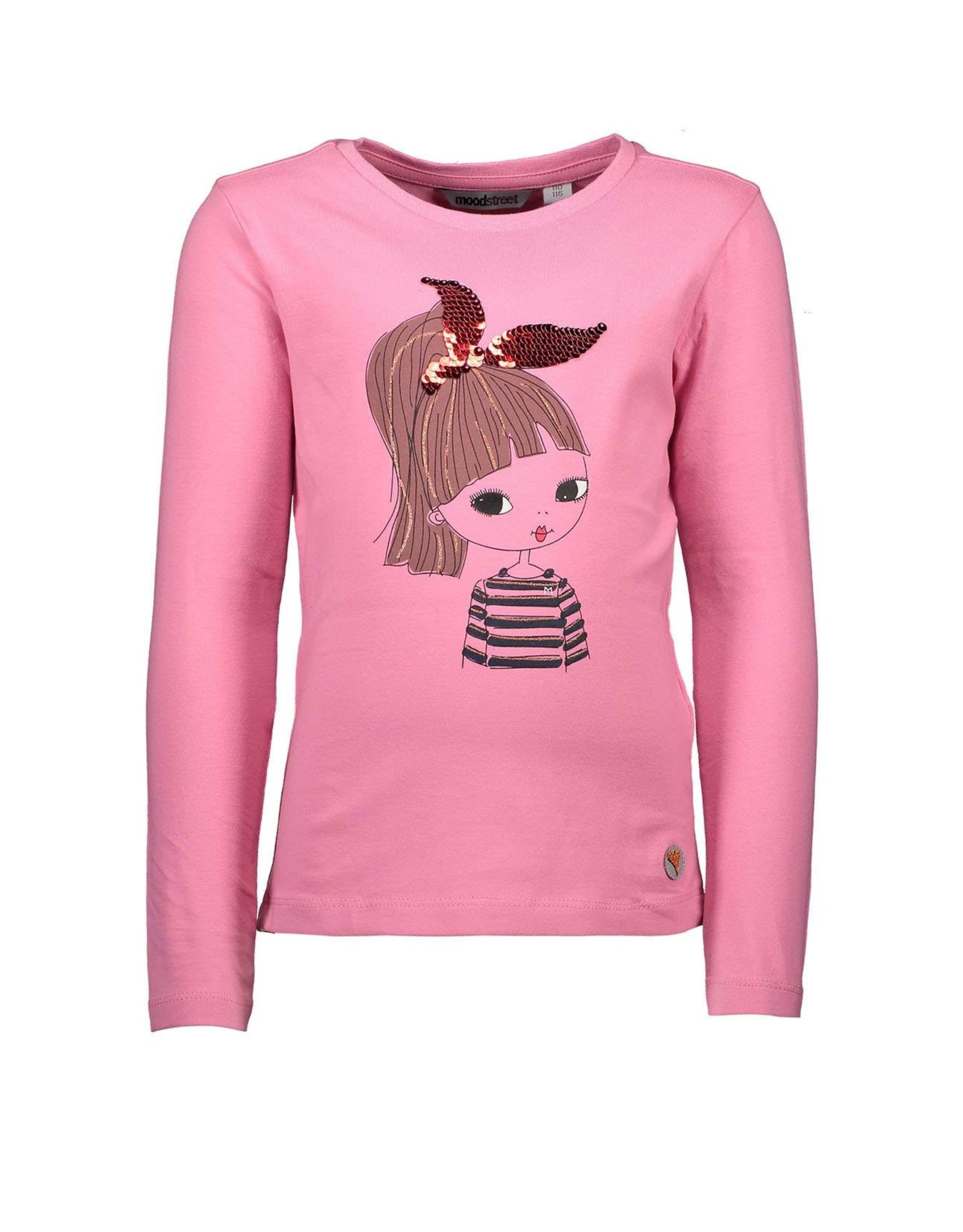 Moodstreet Moodstreet-MT T-Shirt Applique And Sequins-Soft Pink