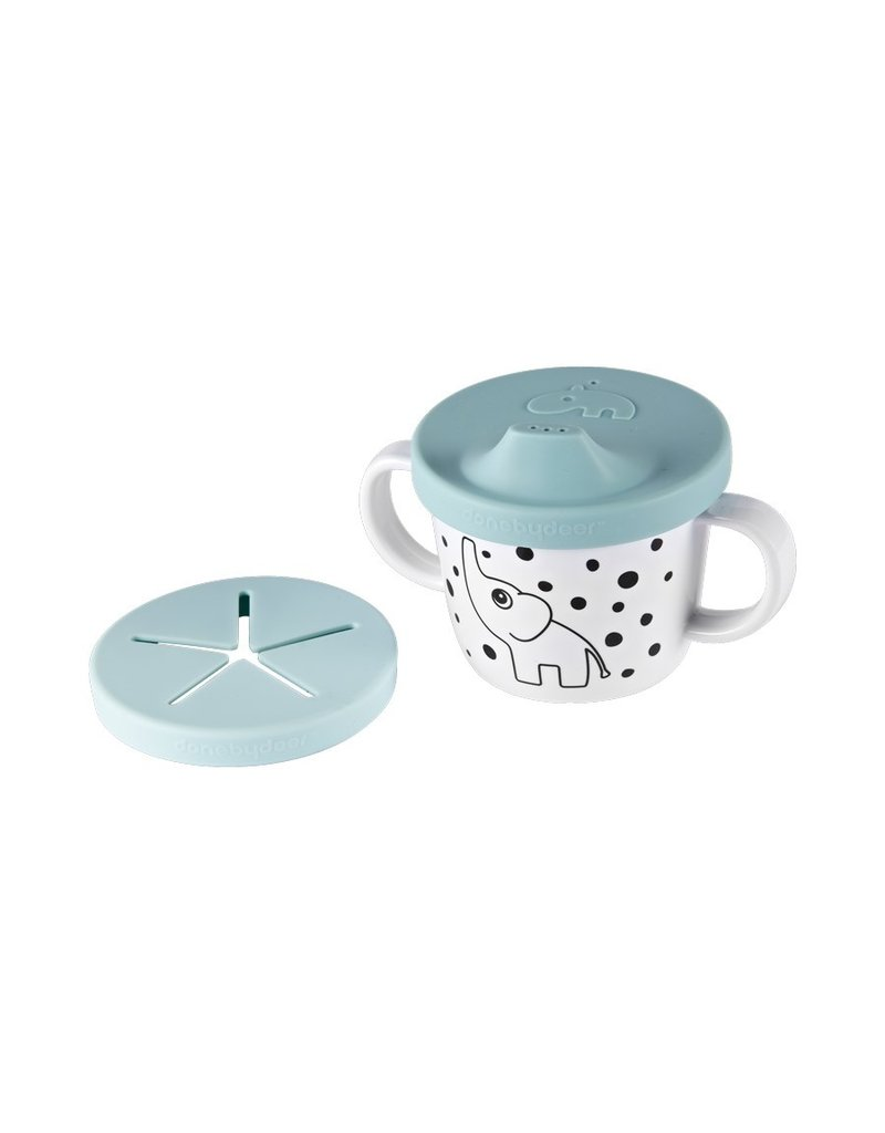 Done by Deer Silicone Spout/Snack Cup, Elphee, Blue