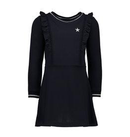 Like Flo Like Flo Girls Crepe Ruffle Dress- Navy
