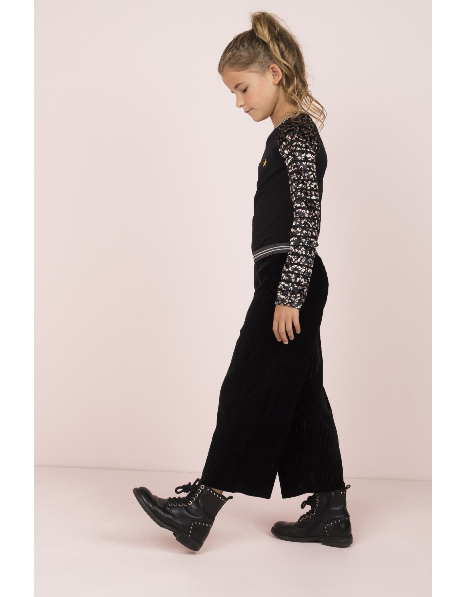 Like Flo Like Flo Girls Rib Velours Quilot Pants Black