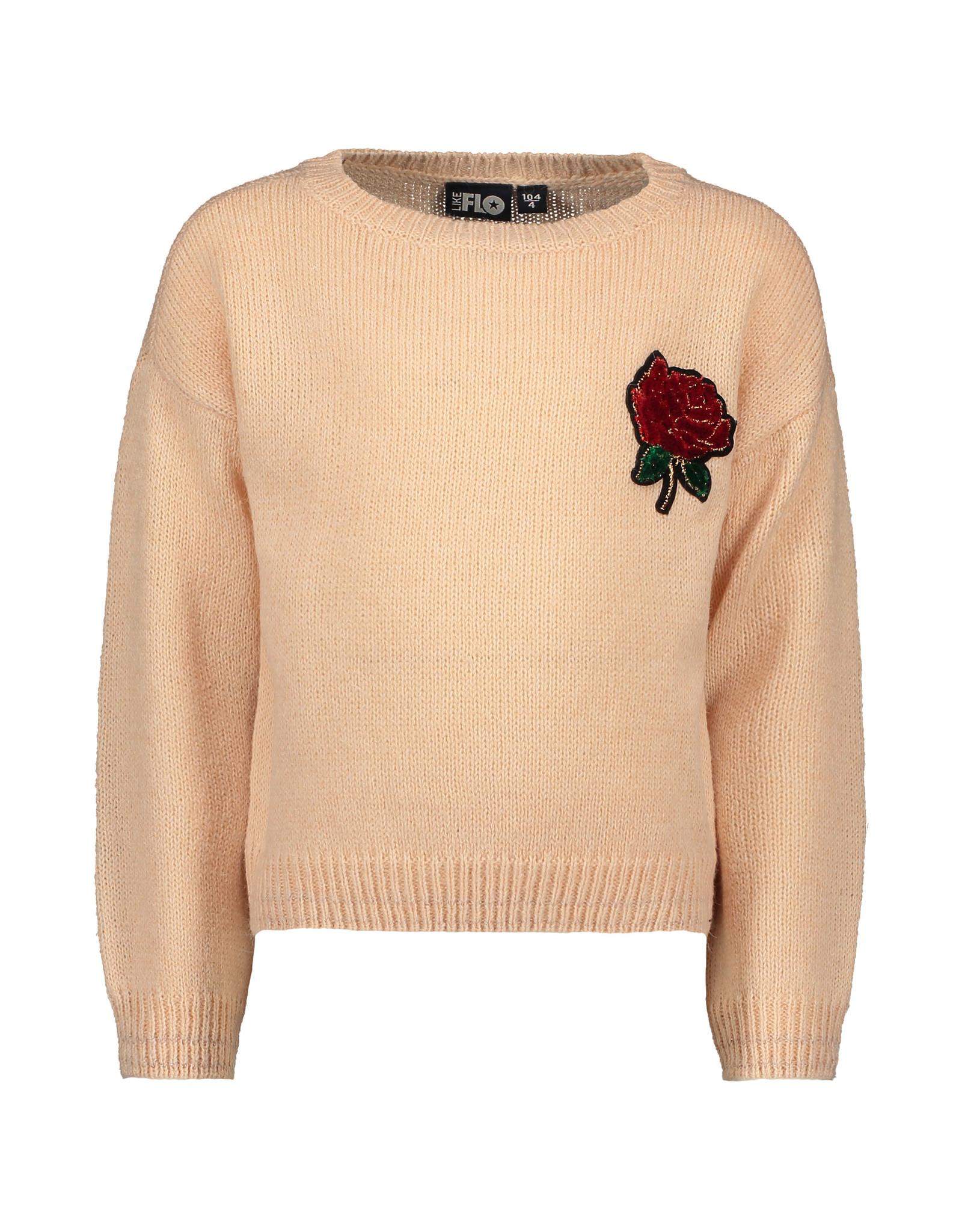 Like Flo Like Flo Girls Hairy Fine Knit Sweater Old Pink