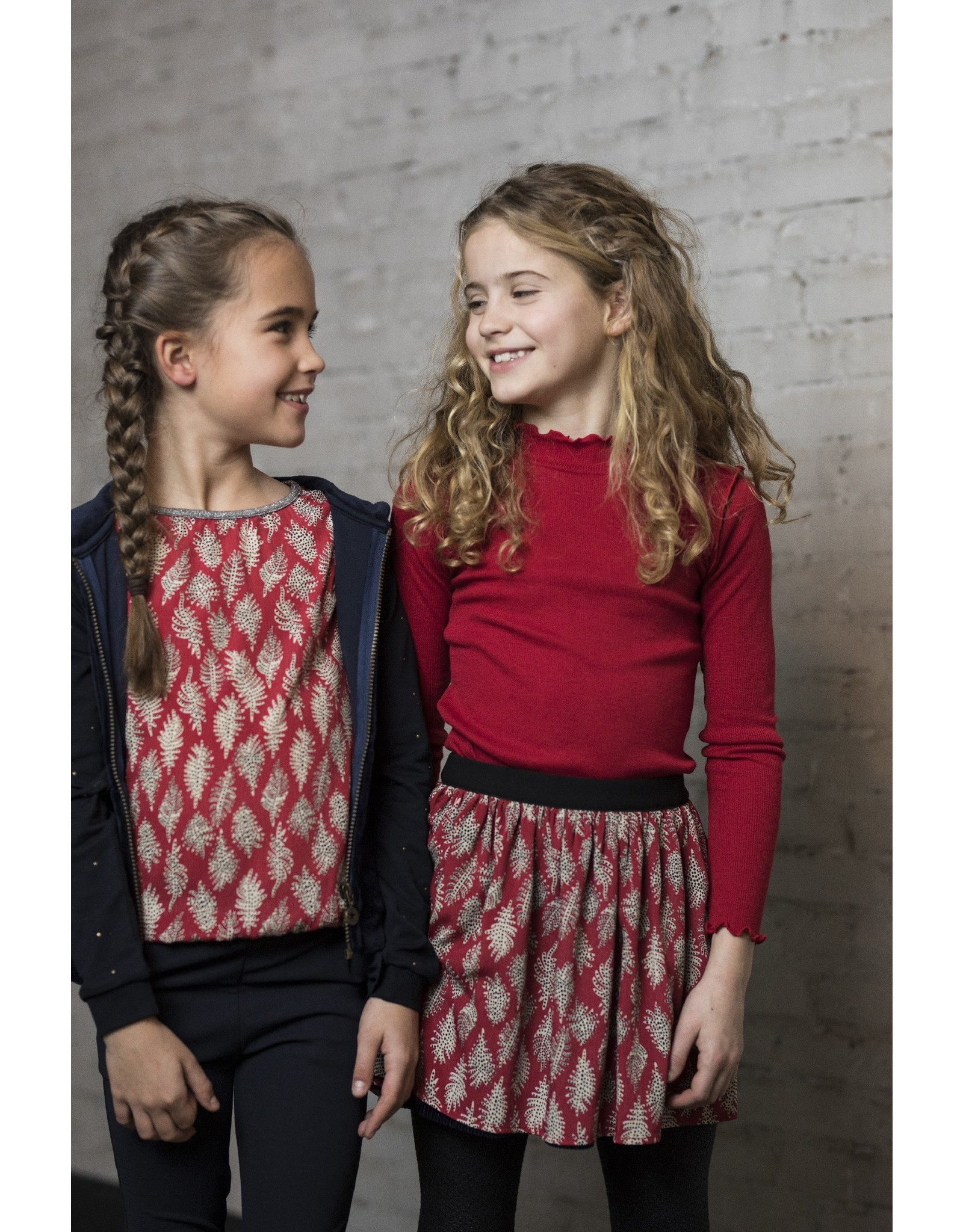Like Flo Like Flo Girls Rib LS Turtle Neck- Red