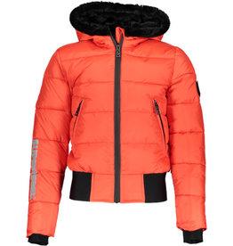 Super Rebel SuperRebel- Basic Shiny Girls Ski Jacket-Neon Red