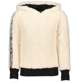 Super Rebel SuperRebel-Girls Hooded Fur Sweater-Off White
