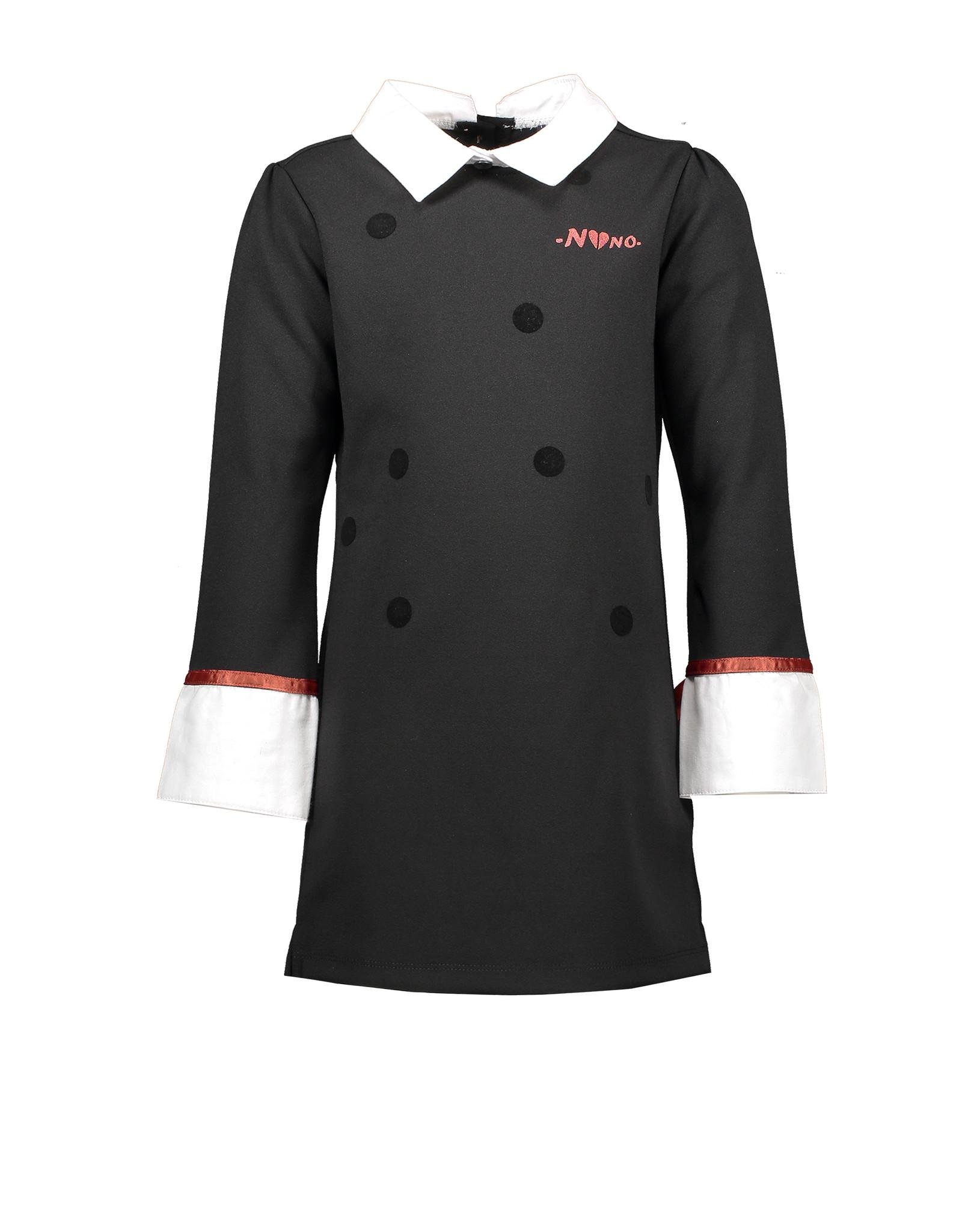 NONO NONO Marlijn little black dress with fancy collar and cuffs Jet Black