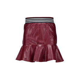 NoBell NoBell-Nenai Imitation Leather Skirt-Wine Red
