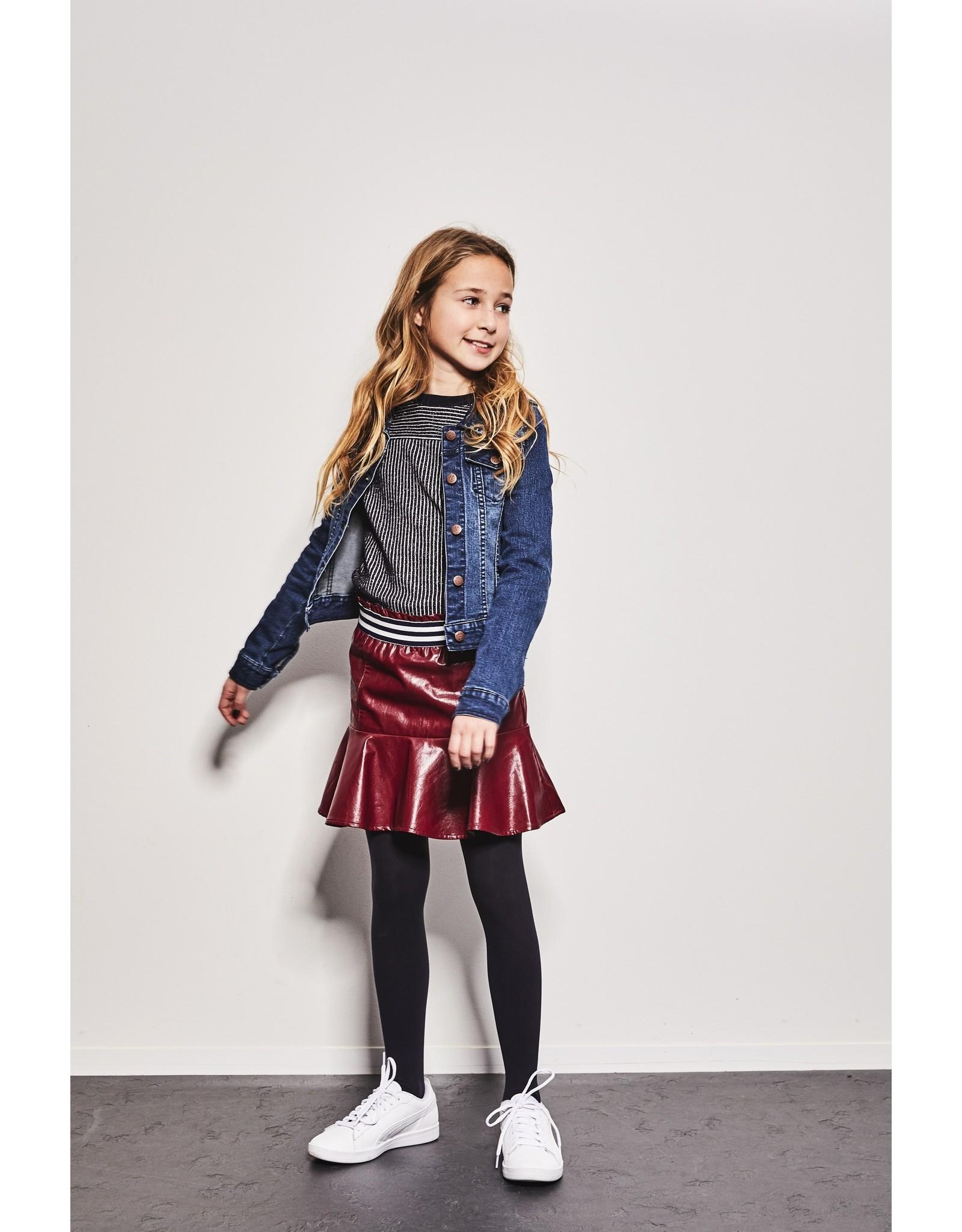 NoBell NoBell-Nenai Imitation Leather Skirt-Wine Red