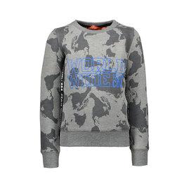 TYGO & Vito TYGO & Vito Sweater All over print WORLD WIDE donker grey melee