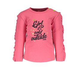 B.Nosy B.Nosy Baby Girls Shirt with Ruffle on sleeve Shocking pink
