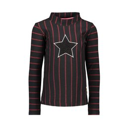 B.Nosy B.Nosy-Girls Shirt-Star Black Fur-Black-Red Stripe