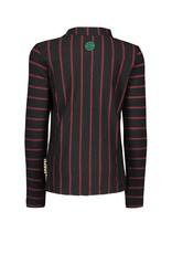 B.Nosy B.Nosy-Girls Shirt-Star Black Fur-Black-Red Stripe