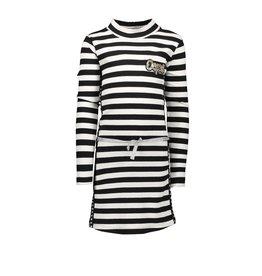 B.Nosy B.Nosy- Girls Rib Dress With Belt And Star-B/W Stripe