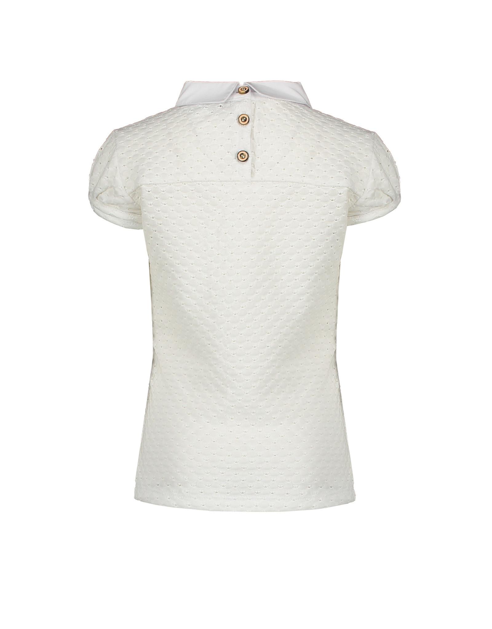 NONO NONO KaliA short sleeve embroidered T0shirt with woven collar Optical White