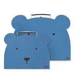 Jollein Jollein Speelkoffertje Animal Club Steel Blue (2pack)