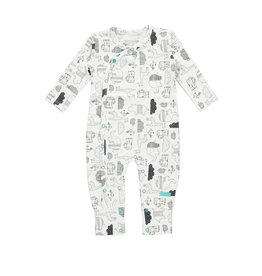 "Little Bampidano Bampidano-New Born Overall AOP Envelope Feet""Black"""