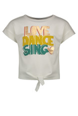 "Like Flo Like Flo-Girls Knotted Sweat Love Dance Sing""Off White"""