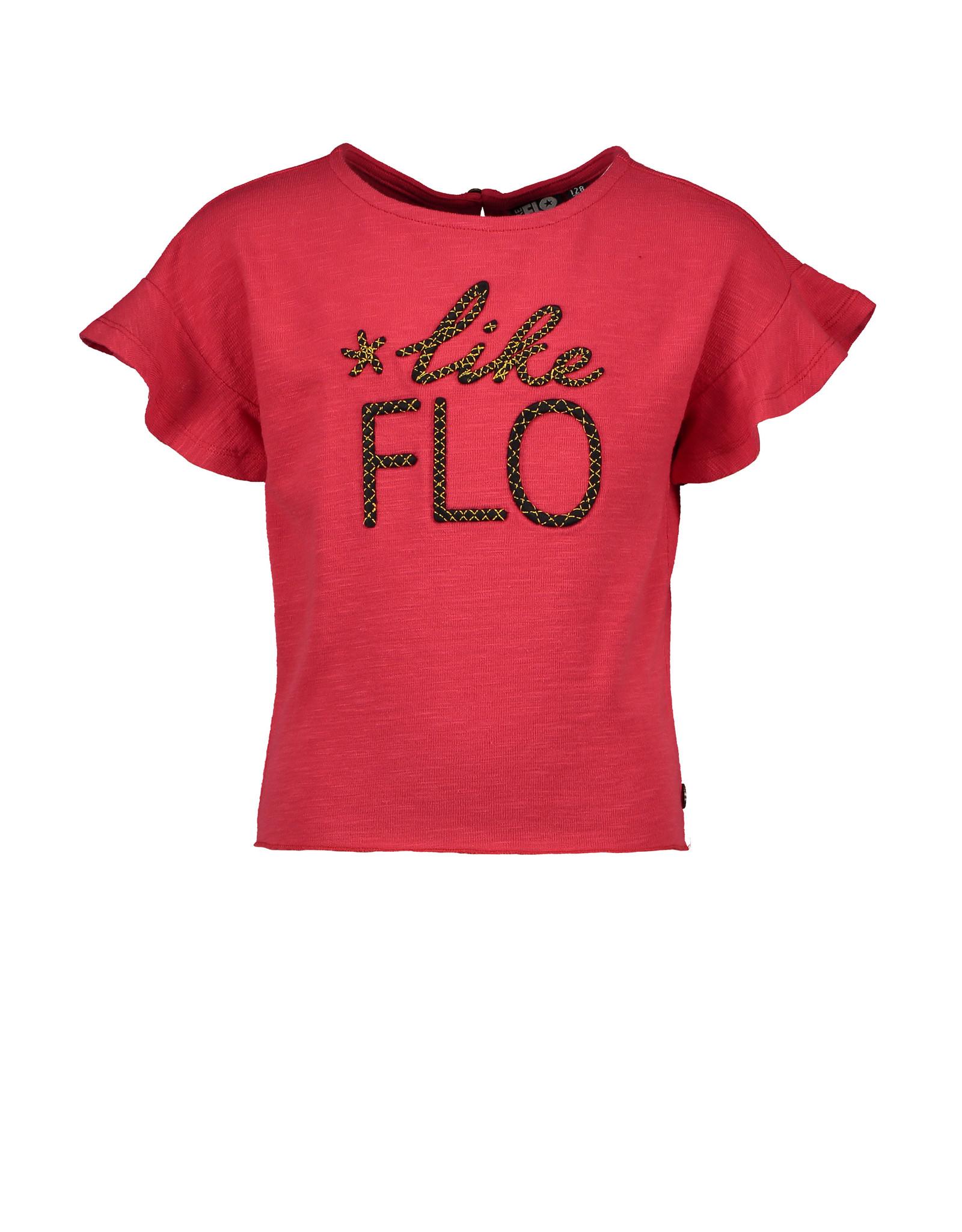"Like Flo Like Flo-Girls Slub Jersey Ruffle Top-""Cerise"""