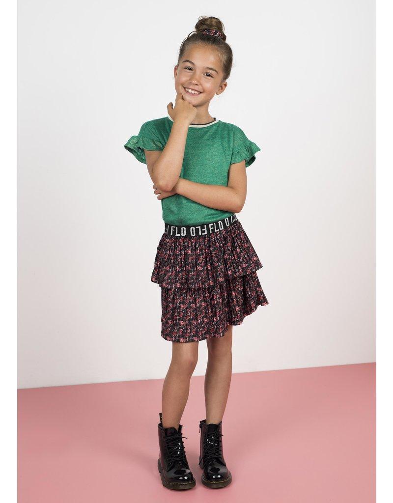 """Like Flo Like Flo-Girls AO Shiny Jersey Plissé Skirt-""""Flower"""""""