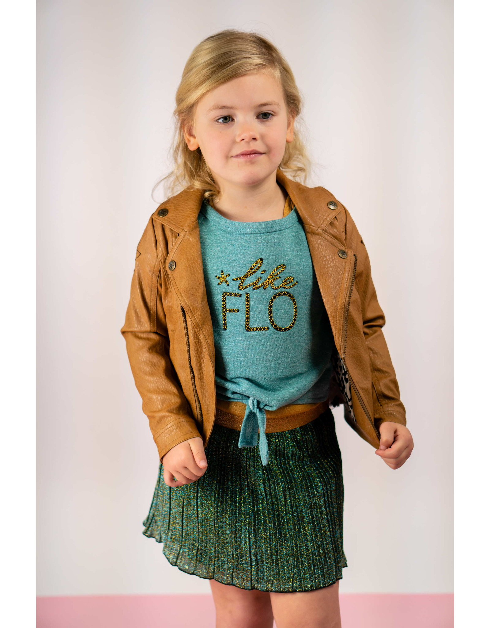 "Like Flo Like Flo-Girls Plissé Dress/Melee Top-""Ocean"""