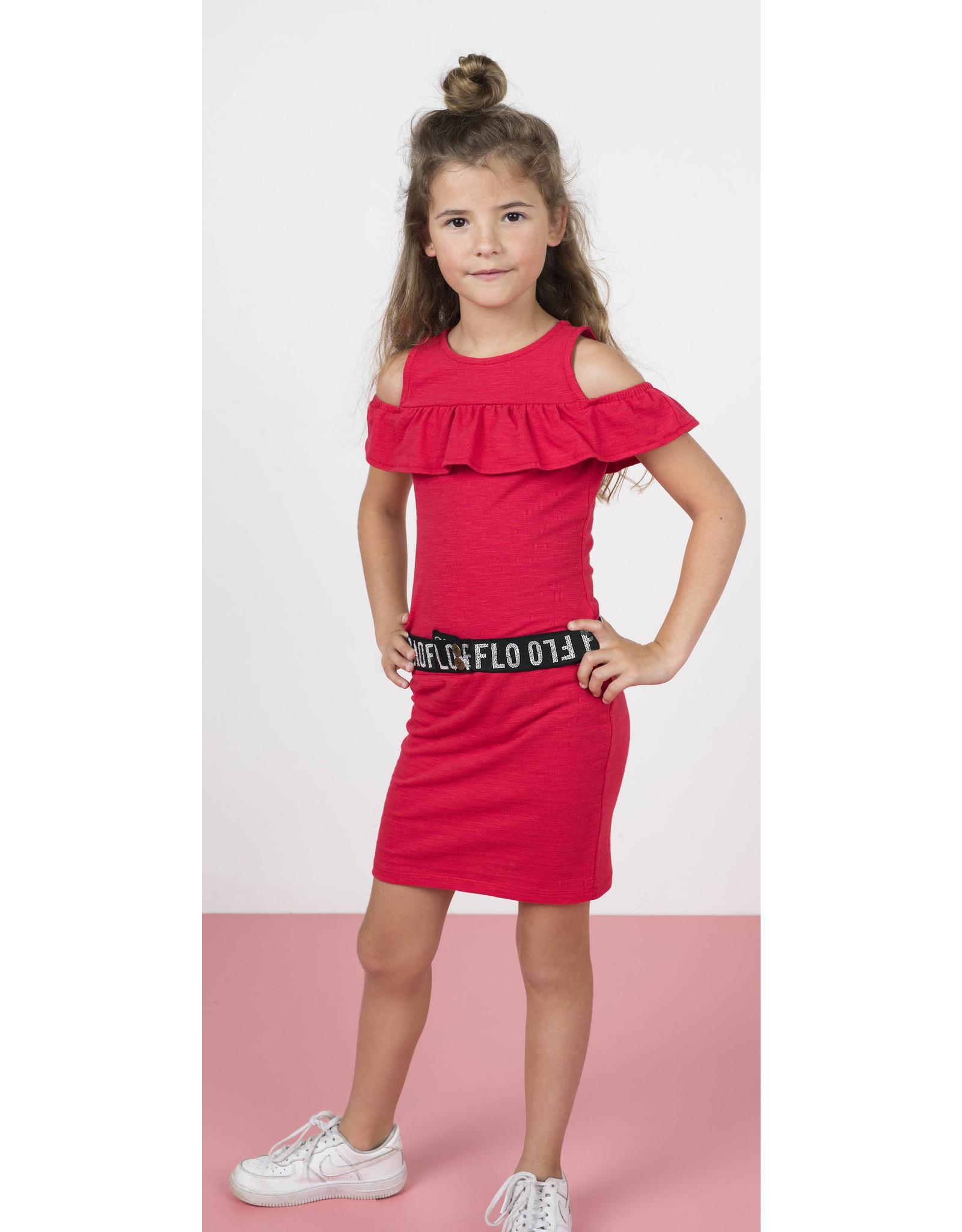 "Like Flo Like Flo-Girls Slub Jersey Ruffle Dress-""Cerise"""