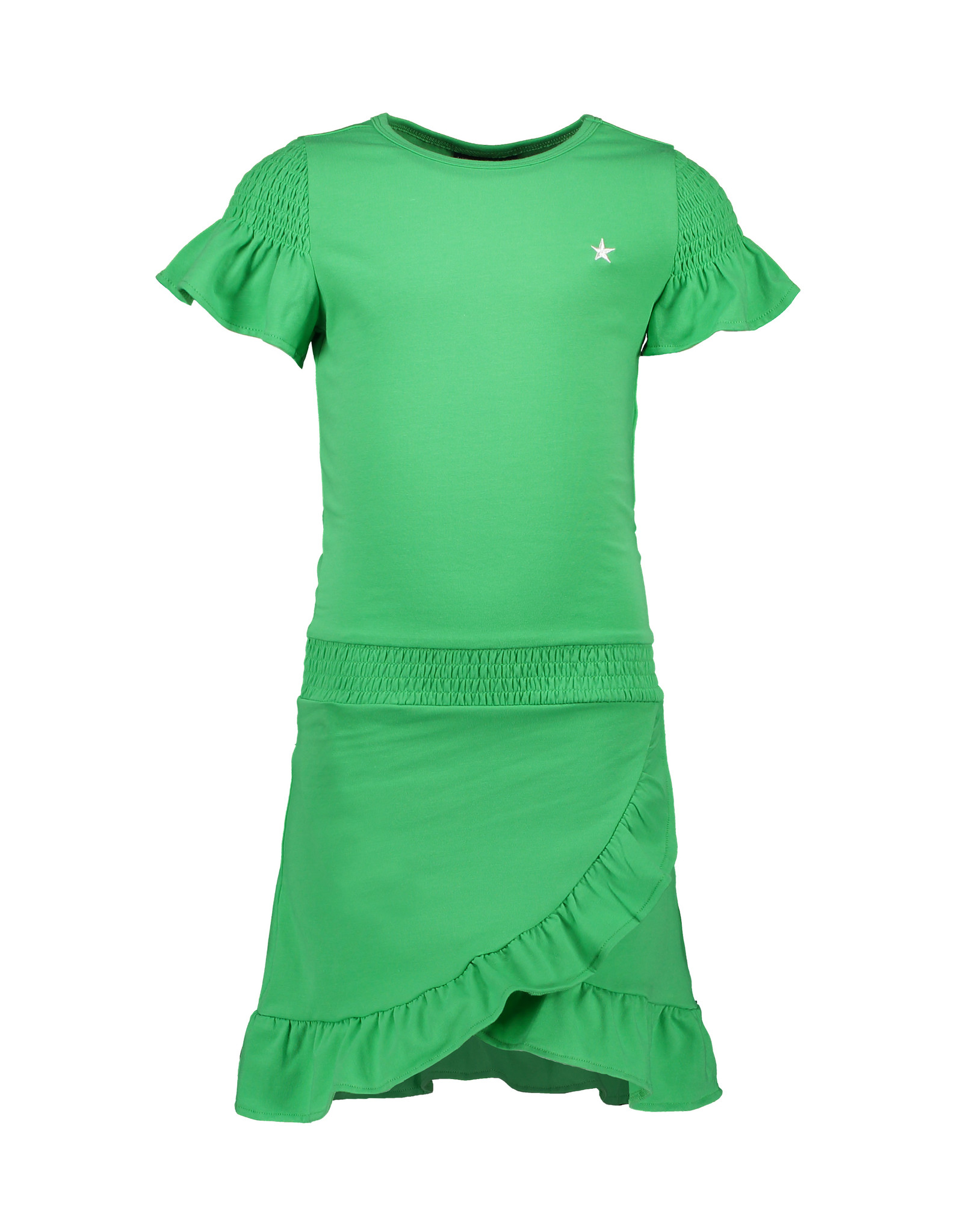 Like Flo Like Flo Girls Short sleeve Smock Jersey Ruffle Dress Green