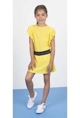 Like Flo Like Flo Girls Viscose Dot ruffle Dress loose belt Yellow