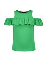 Like Flo Like Flo Girls Jersey Ruffle Shoulder Tee Green