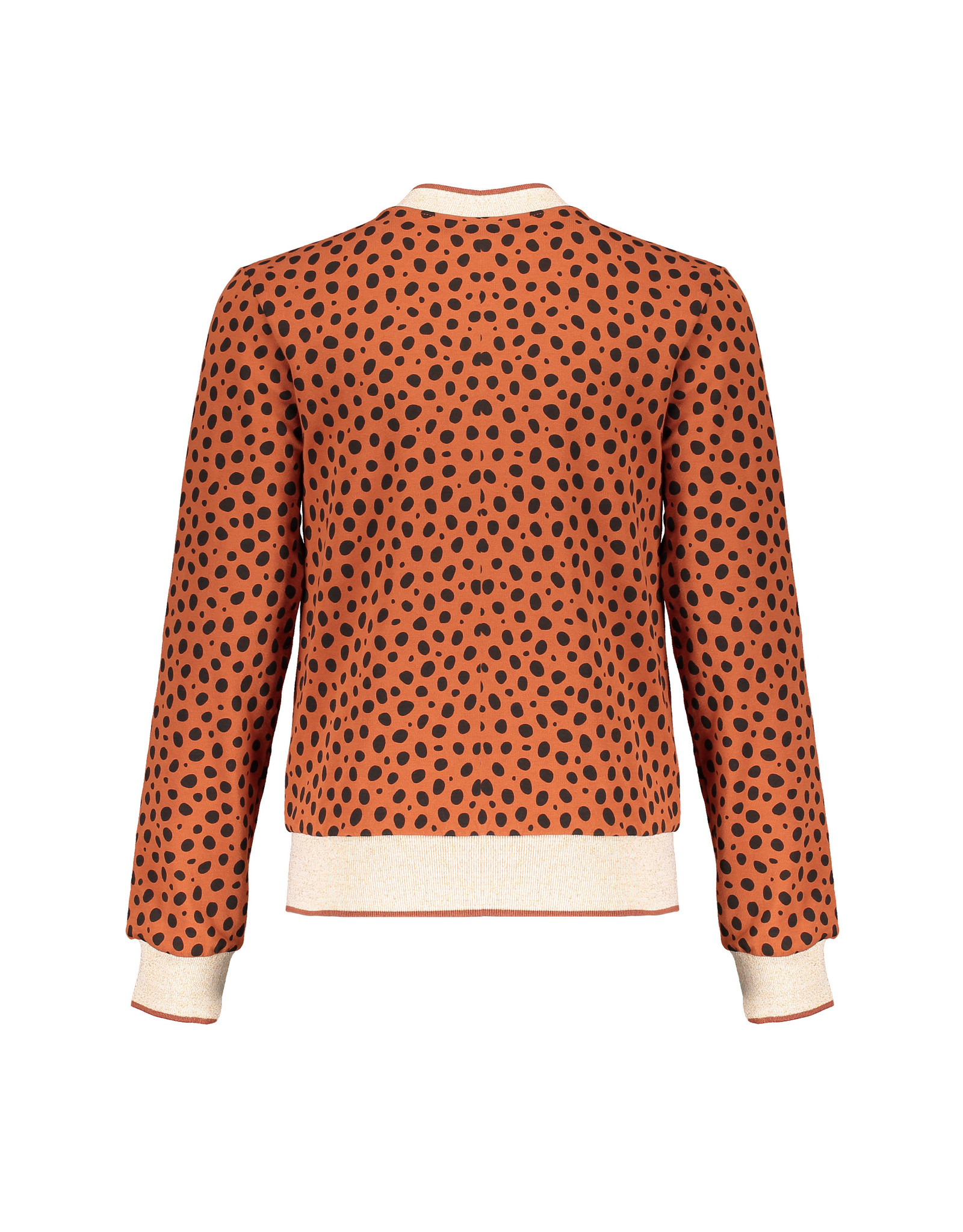NoBell NoBell Donna Reversible sweat bomber with all over print CHEETA COGNAC
