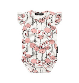 Your Wishes Your Wishes Ruffle Romper Flamingo