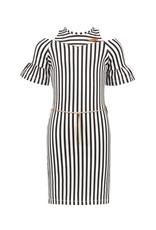 NONO NONO Minol Striped cold shldr dress with clock sleeves Nearly Black