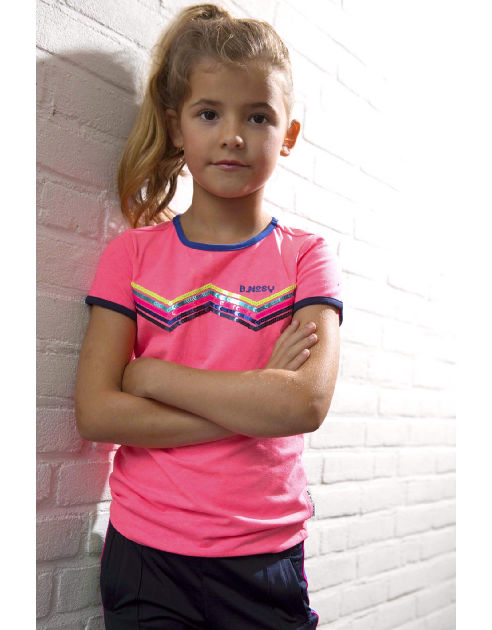 B.Nosy B.Nosy Girls Uni Shirt with zigzag artwork Festival Pink