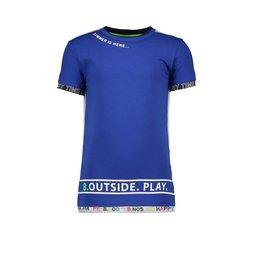 B.Nosy B.Nosy Boys Shirt with printed B.Nosy sleeve and print Cobalt Blue