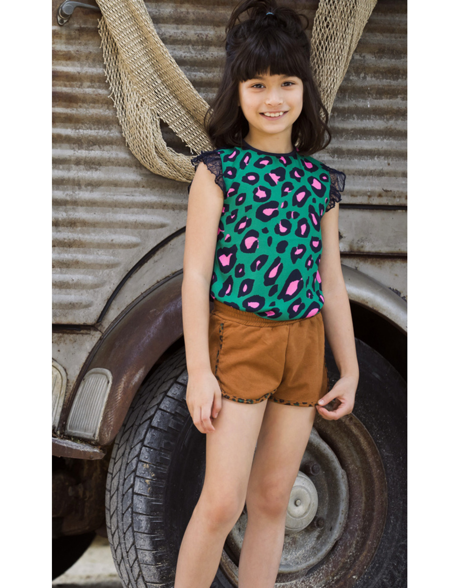 B.Nosy B.Nosy Girls Top with Leo front and lace backside JADE LEOPARD