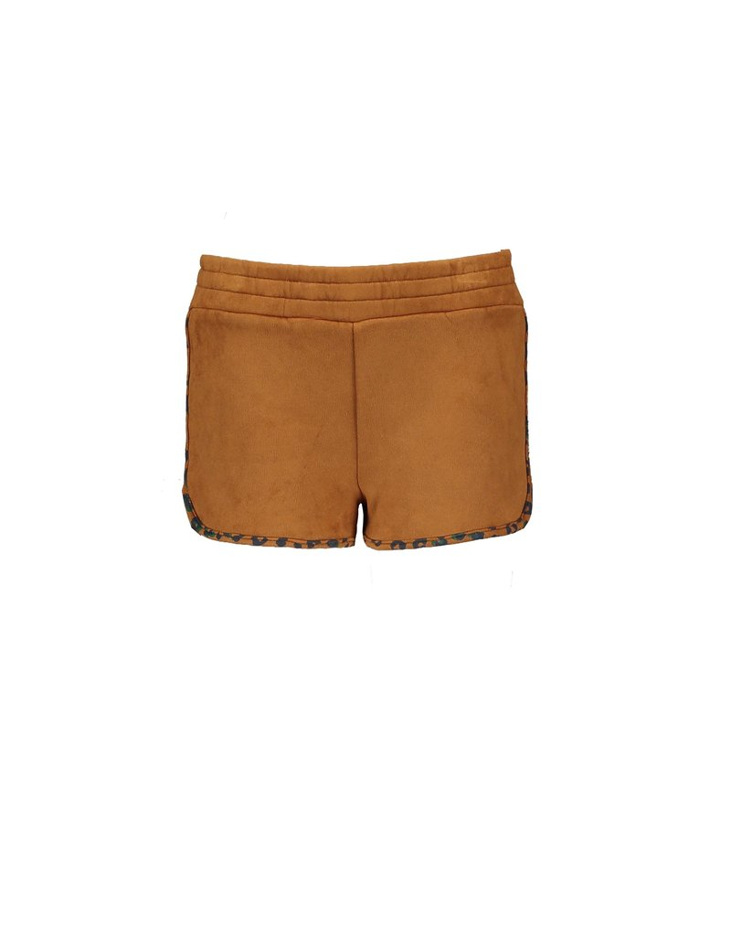 B.Nosy B.Nosy Girls Fake Suede Shorts with leo all over binding SOFT BROWN