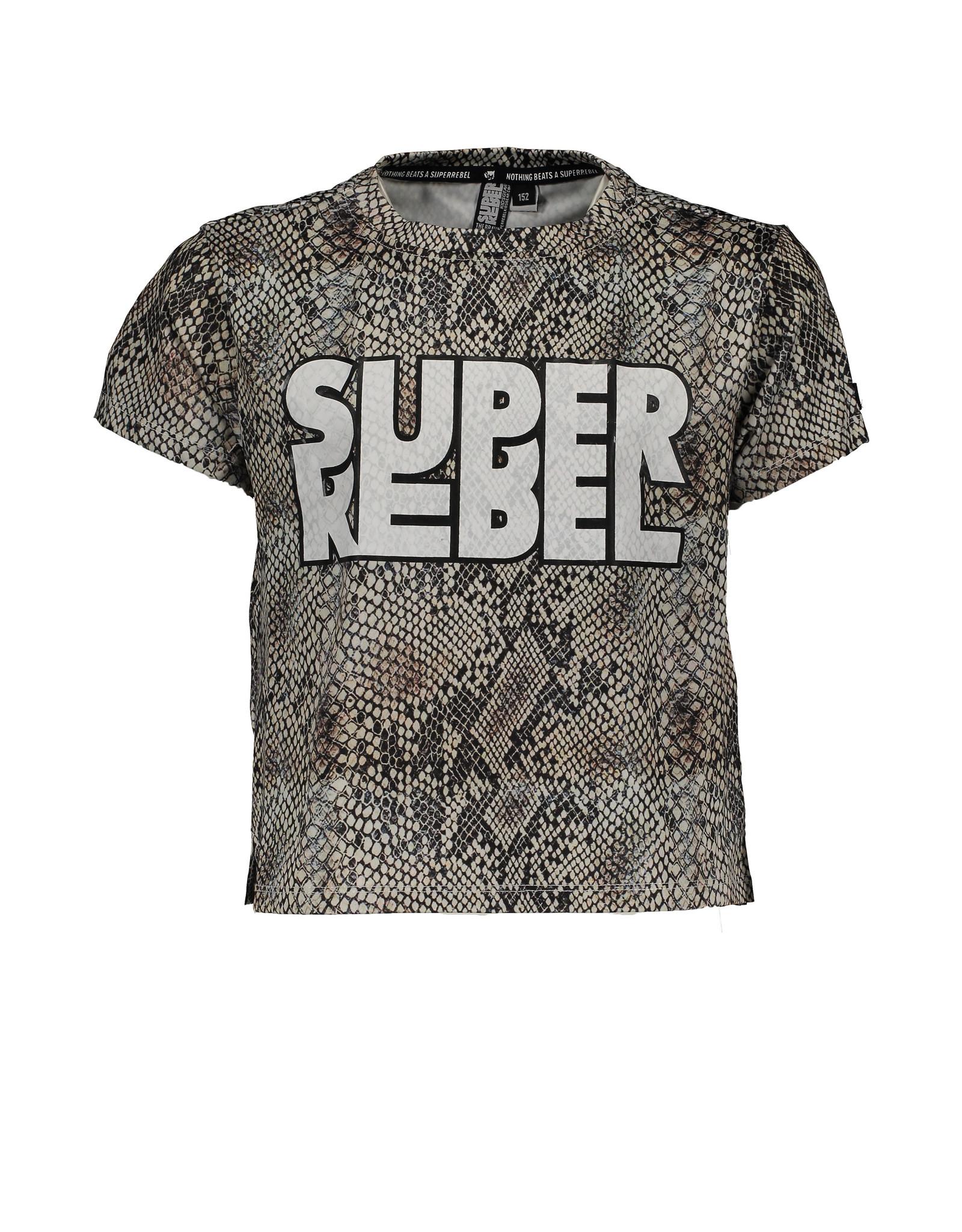 Super Rebel Super Rebel Girls Active T-shirt + Print all over NATURAL SNAKE